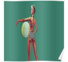 Retro beach babe Poster