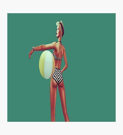 Retro beach babe Photographic Print