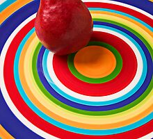 Red Pear On Circles Plate by Garry Gay