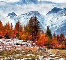 Red trees before the mountain by Julien Menet