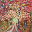road under autumn trees by maggie326