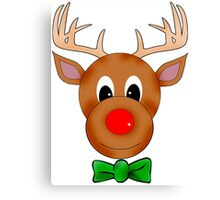 Funny Reindeer with Red Nose and Antlers Canvas Print