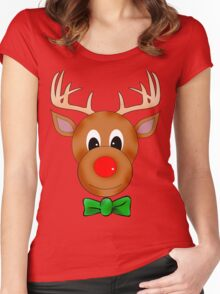 Funny Reindeer with Red Nose and Antlers Women's Fitted Scoop T-Shirt