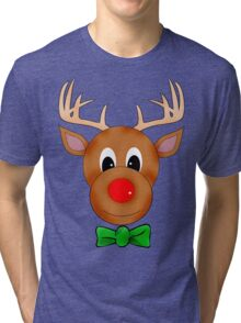 Funny Reindeer with Red Nose and Antlers Tri-blend T-Shirt