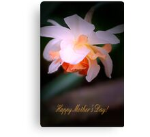 Happy Mother's Day card with daffodil Canvas Print