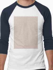 Polkadots Beige and Black Men's Baseball ¾ T-Shirt