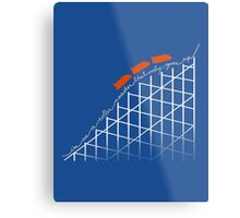 I'm On a Roller Coaster That Only Goes Up (Orange Cars) Metal Print