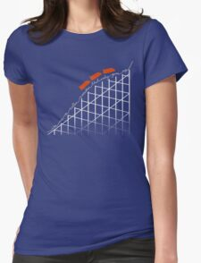 I'm On a Roller Coaster That Only Goes Up (Orange Cars) Womens Fitted T-Shirt