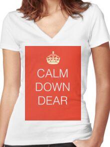 Calm Down Dear Women's Fitted V-Neck T-Shirt