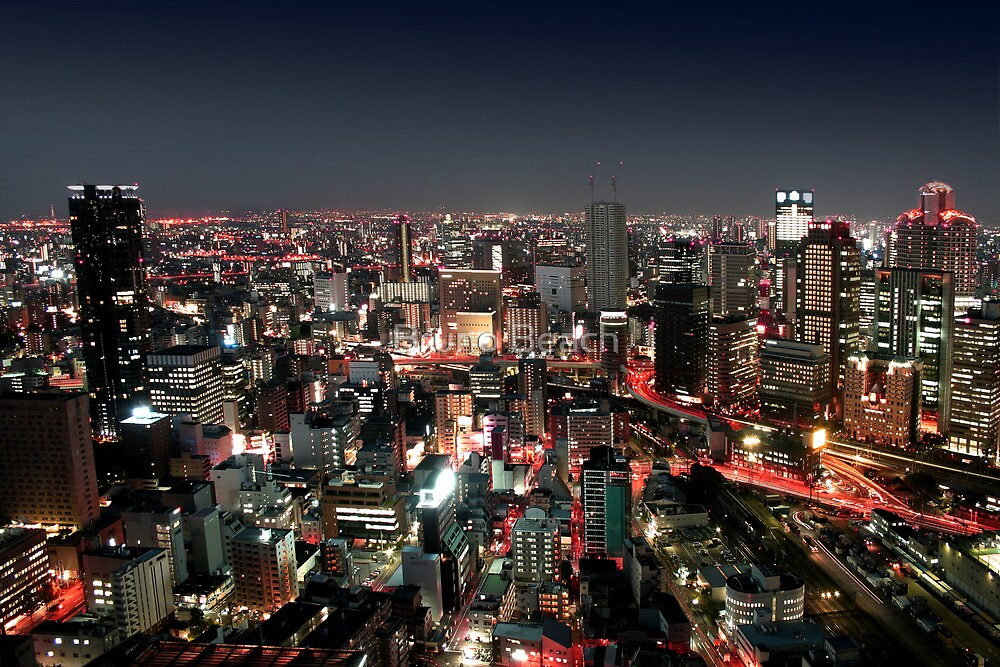 Osaka city by Night by Digital Editor .