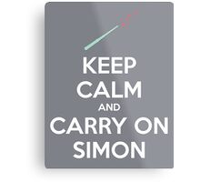 Keep Calm and Carry On Simon (White Text) Metal Print