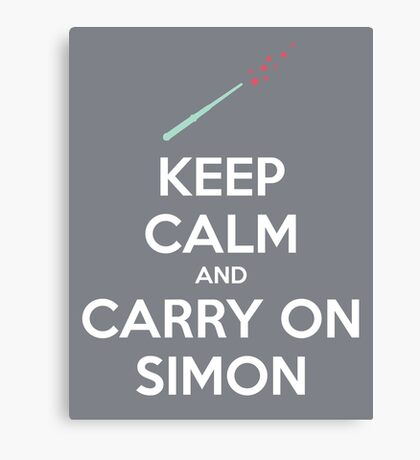 Keep Calm and Carry On Simon (White Text) Canvas Print