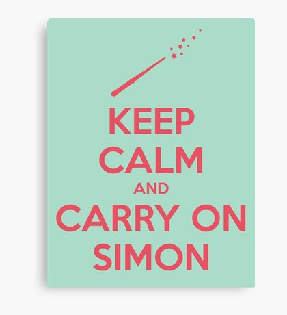 Keep Calm and Carry On Simon (Pink Text) Canvas Print