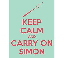 Keep Calm and Carry On Simon (Pink Text) Photographic Print