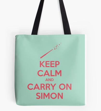 Keep Calm and Carry On Simon (Pink Text) Tote Bag
