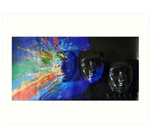 Masks in Blue. Art Print