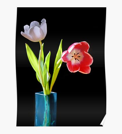 Tulips in a blue vase Poster
