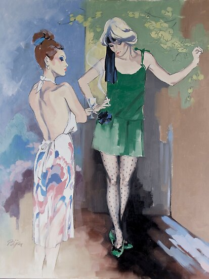 """Gossip"" Oil on Canvas by Sara Moon"