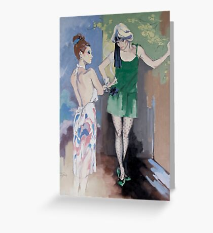 """""""Gossip"""" Oil on Canvas Greeting Card"""