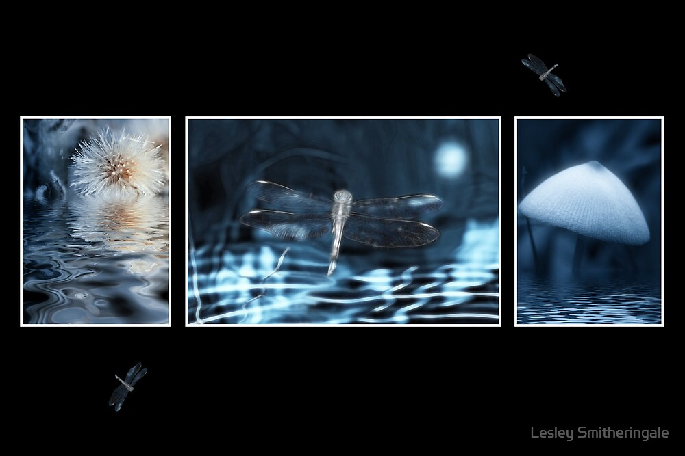 Moonlit Fantasy Triptych by Lesley Smitheringale