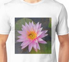 Pink Waterlily with Bee Unisex T-Shirt