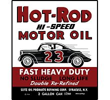 Hot Rod Motor Oil vintage tin can Photographic Print