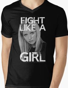 Fight Like A Girl Mens V-Neck T-Shirt