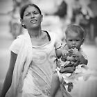 Mother & Child in Bali b/w by Jenny Norris