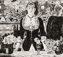 "From a carbon paper trace monotype after Edouard Manet's ""A Bar at the Folies-Bergere."" by Antony R James"