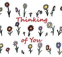 Smiling flower garden - thinking of you (red) by ReadiesCards