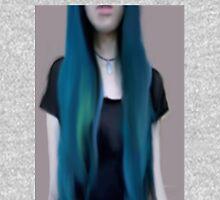 Blue Ombre Hair Illustration Unisex T-Shirt