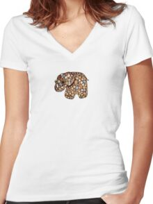 Patchwork Elephant Women's Fitted V-Neck T-Shirt