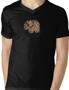 Patchwork Elephant Mens V-Neck T-Shirt