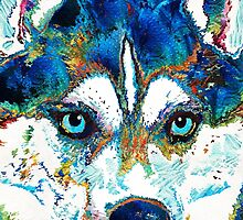 Colorful Husky Dog Art by Sharon Cummings by Sharon Cummings