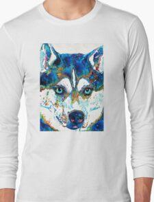 Colorful Husky Dog Art by Sharon Cummings Long Sleeve T-Shirt