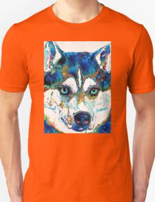 Colorful Husky Dog Art by Sharon Cummings Unisex T-Shirt