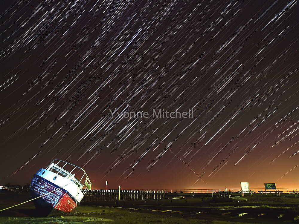 Star trails wreck by Yvonne Mitchell