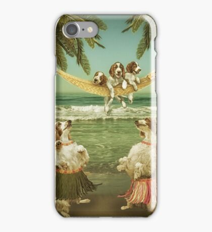 Welshie pups learning to hula from the Aunties iPhone Case/Skin
