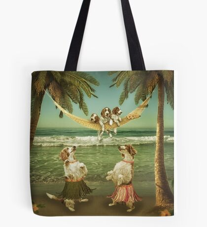 Welshie pups learning to hula from the Aunties Tote Bag