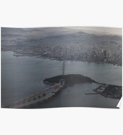 Flying over the Bay Bridge into Oakland,California USA Poster