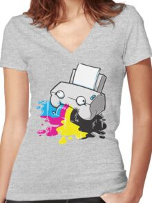 Puker Printer Women's Fitted V-Neck T-Shirt