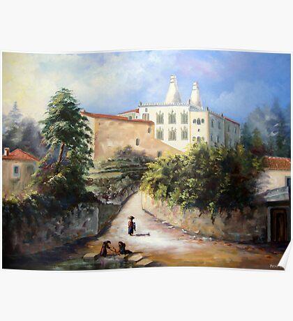 Palácio da Vila de Sintra, visto da Zona do Rio do Porto com as Lavadeiras de Sintra - Château de Sintra - Palace of Sintra PORTUGAL # Óleo sobre tela / Oil on canvas     Poster