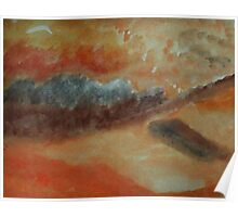 Abstract of sand and clouds in orange, watercolor Poster
