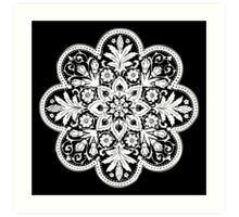 Victorian Ceiling Rose | Doily Pattern | Black & White Art Print