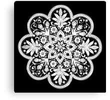 Victorian Ceiling Rose / Doily Pattern - Black & White Canvas Print