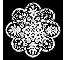 Victorian Ceiling Rose / Doily Pattern - Black & White Photographic Print
