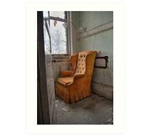 Orange arm chair Art Print