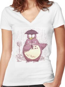 Totoro Women's Fitted V-Neck T-Shirt