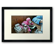 Playing with the I phone Framed Print