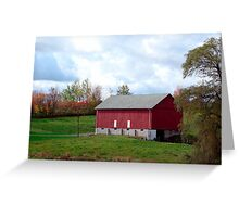 (Barn calendar) The Red Barn and the Willow in Fall Greeting Card